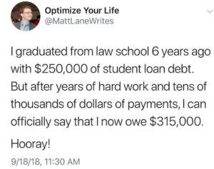 tweet about student loan debt