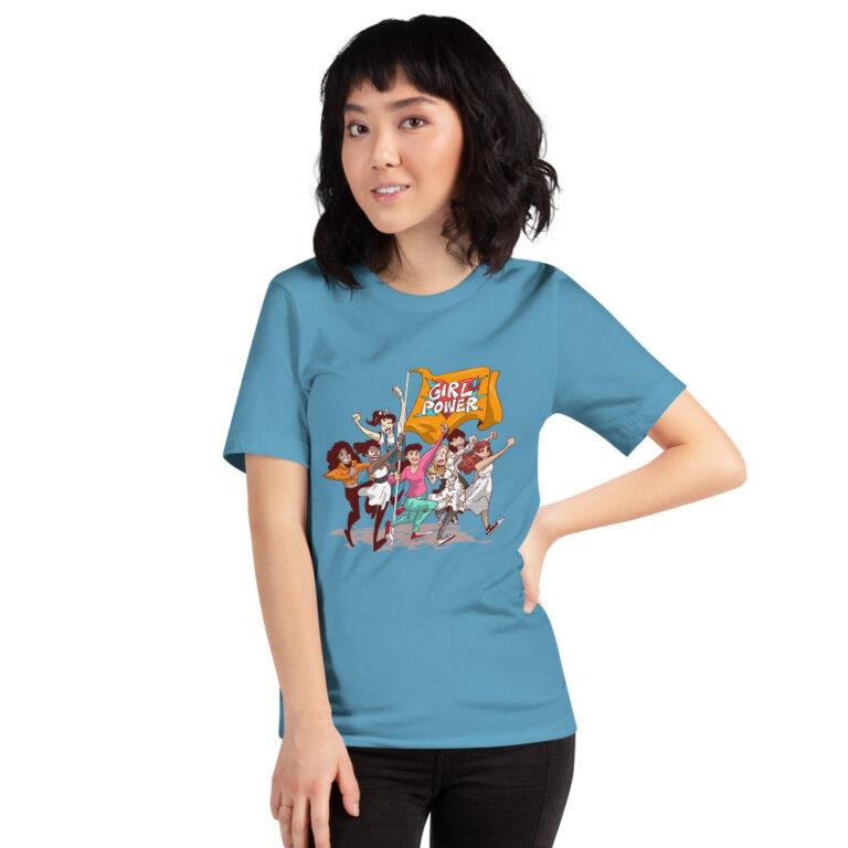 blue girlpower t-shirt unisex