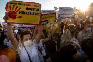 Protest in Turkey with Turkish women