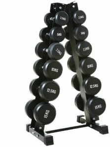 CAP Barbell Dumbbell Set with Vertical Rack