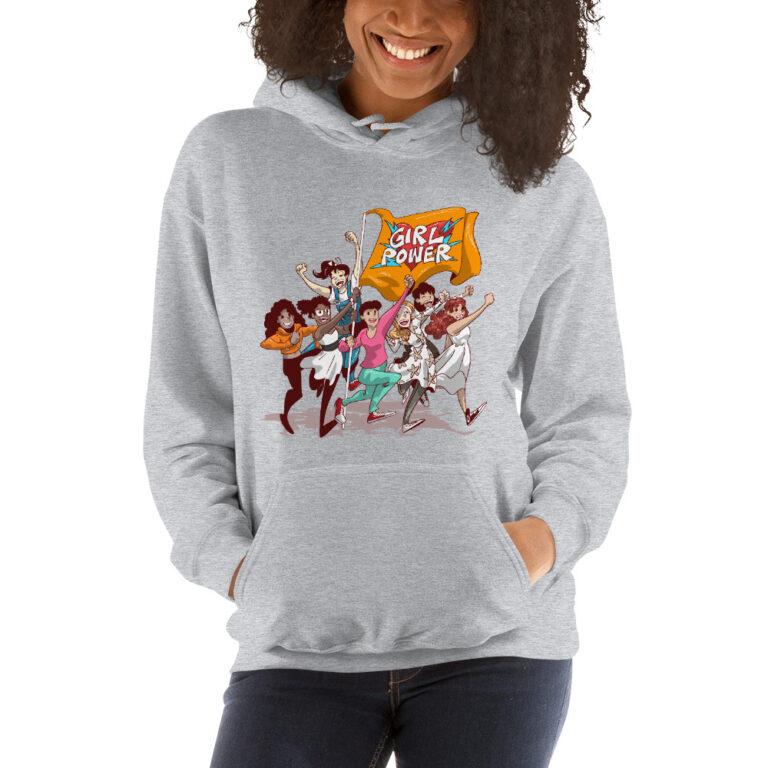 grey unisex girlpower hoodie
