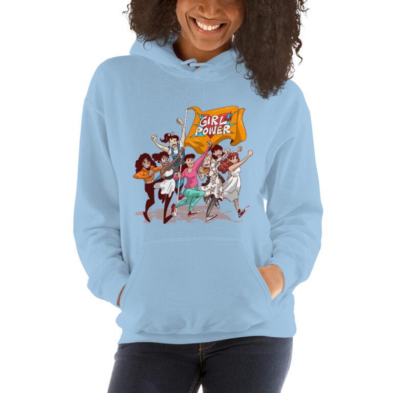 light blue girlpower hoodie unisex