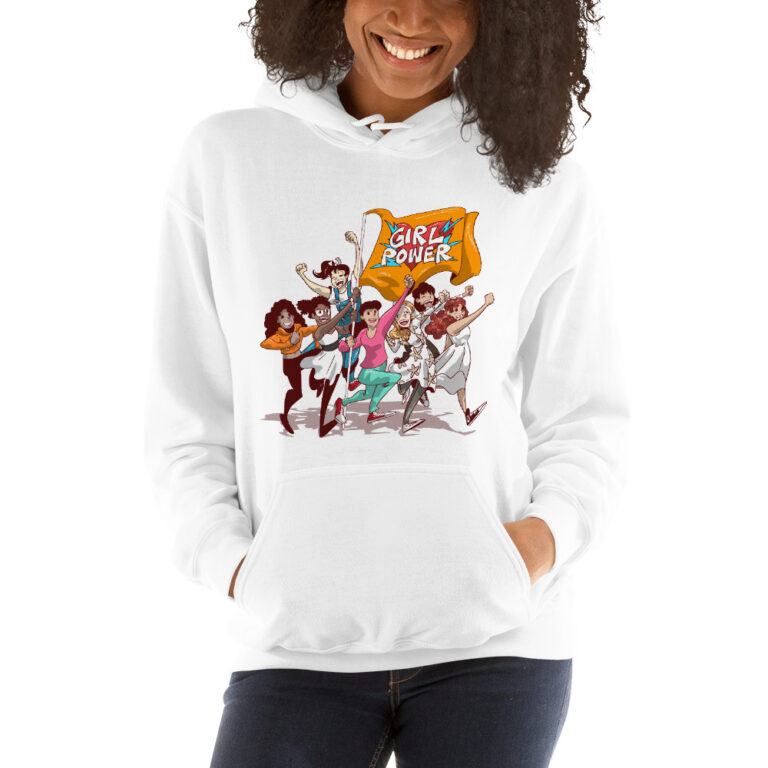 white unisex girlpower hoodie