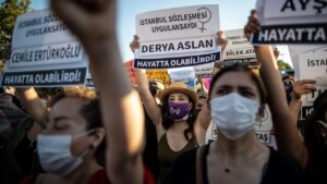 protest against domestic violence in Turkey