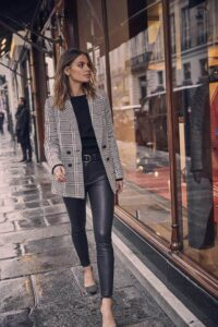 leather trousers with blazer