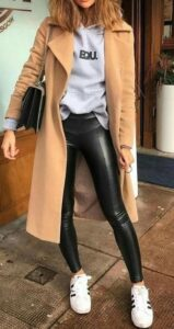 coat with leather trousers